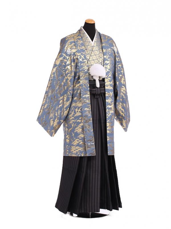卒業式成人式袴レンタル192グレーゴールド紋付×黒