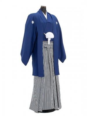 卒業式成人式袴男レンタル009*4/明紺紋付羽織袴