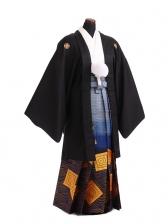 卒業式成人式袴レンタル181黒紋付[絆]×紺ゴール