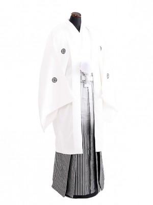 卒業式成人式袴男レンタル080*9/白/黒銀縞ボカシ