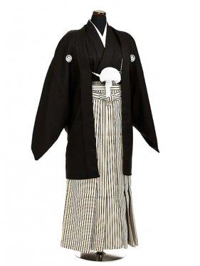 卒業式成人式袴男レンタル038*4/黒/濃紺金縦縞