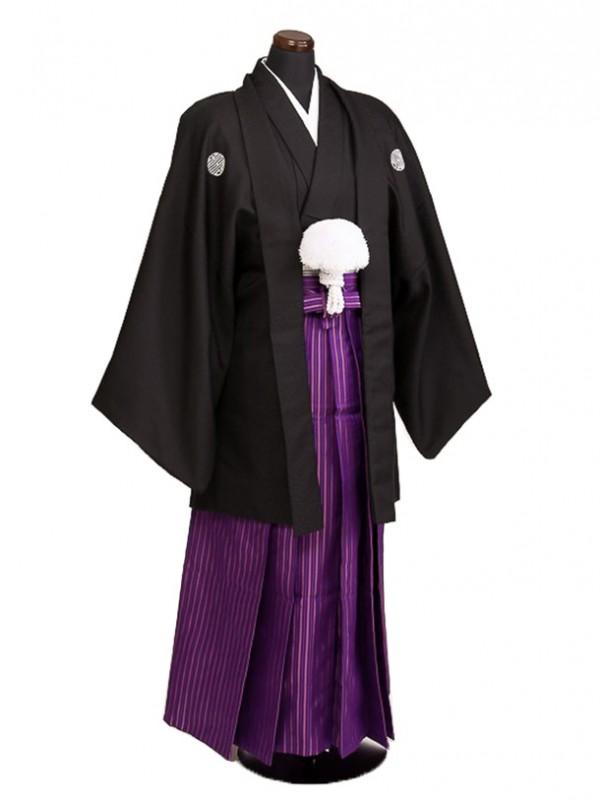 卒業式成人式袴男レンタル056*5黒寿紋/紫子持縞