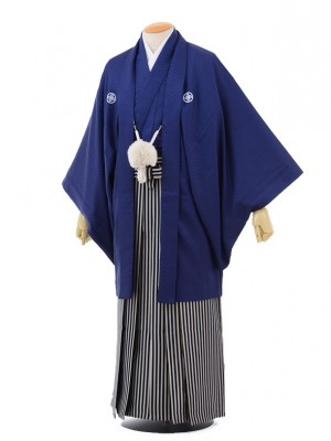 卒業式成人式袴レンタル160紺紋付×紺シルバー袴
