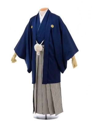 卒業式成人式袴レンタル165紺紋付×紺ゴールド縞