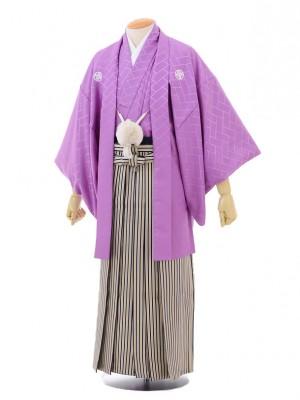 卒業式成人式袴レンタル149紫紋付×紺ゴールド縞