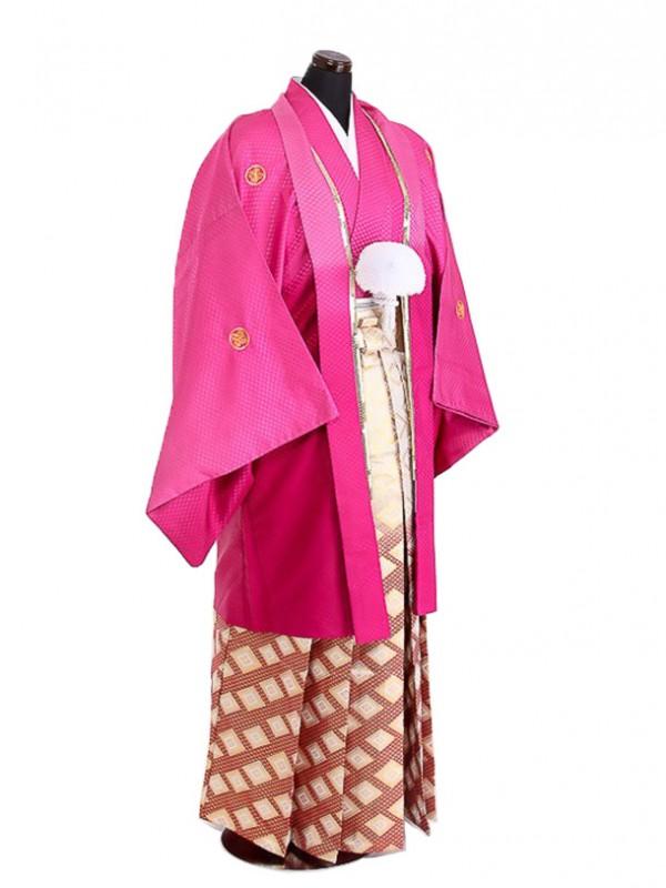 卒業式成人式袴男レンタル082*8赤紫/エンジ菱ボカシ