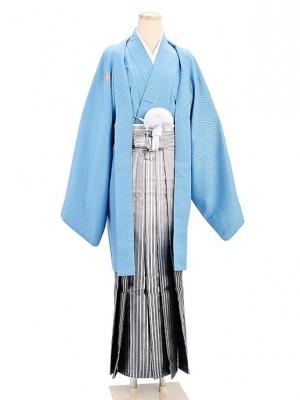 卒業式成人式袴男レンタル003*7/水色/黒銀ボカシ