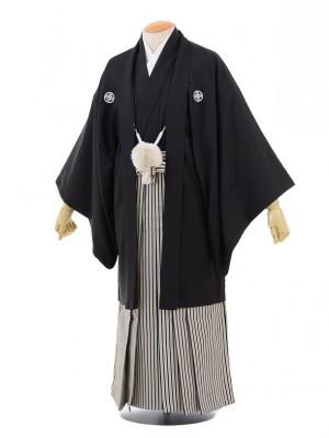 卒業式成人式袴レンタル156黒紋付×紺白ゴールド