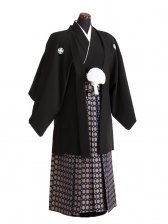 卒業式成人式袴男レンタル064*2/黒紋付/金若杉