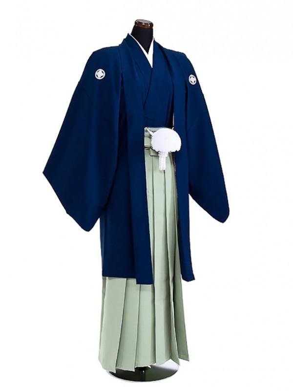 卒業式成人式袴男レンタル050*5/濃紺/若菜無地