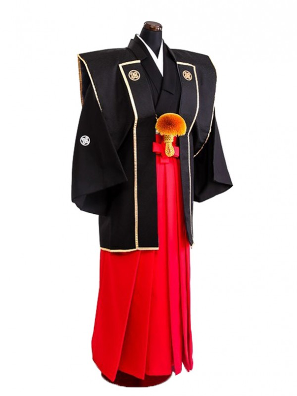卒業式成人式袴男レンタル062*7/黒菱陣羽織/赤