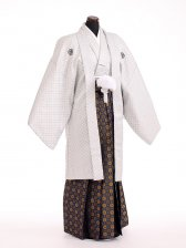 卒業式成人式袴男レンタル106*8/オフホワイト刺子/紺