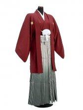 卒業式成人式袴男レンタル022*4/エンジ/銀緑ボカシ