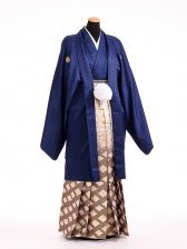 卒業式成人式袴男レンタル099*8/青/菱紋ボカシ袴