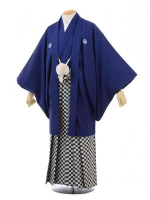 卒業式成人式袴レンタル161紺紋付×グリーン市松袴