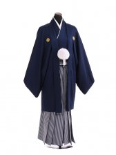 卒業式成人式袴レンタル207紺紋付×白紺仙台平