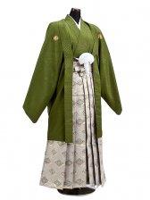 卒業式成人式袴男レンタル034*6オリーブグリーン/菱紋