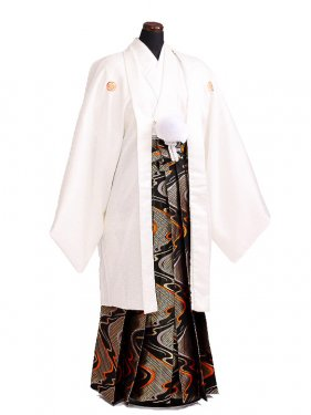 卒業式成人式袴男レンタル096*7/白希望/流水紋