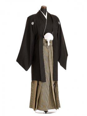 卒業式成人式袴レンタル131*5正絹黒紋付/地味袴