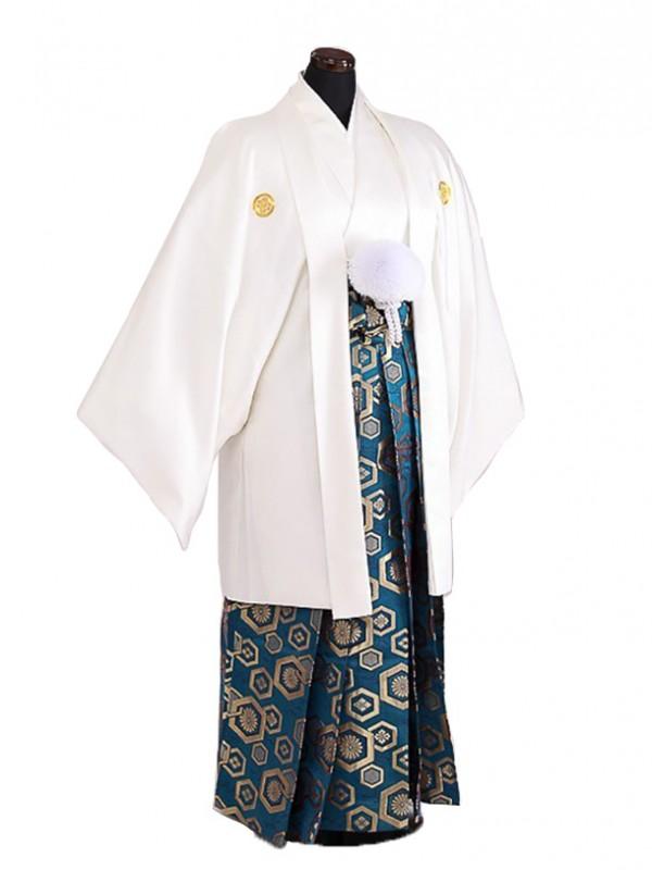 卒業式成人式袴男レンタル066*3/白/浅葱亀甲袴