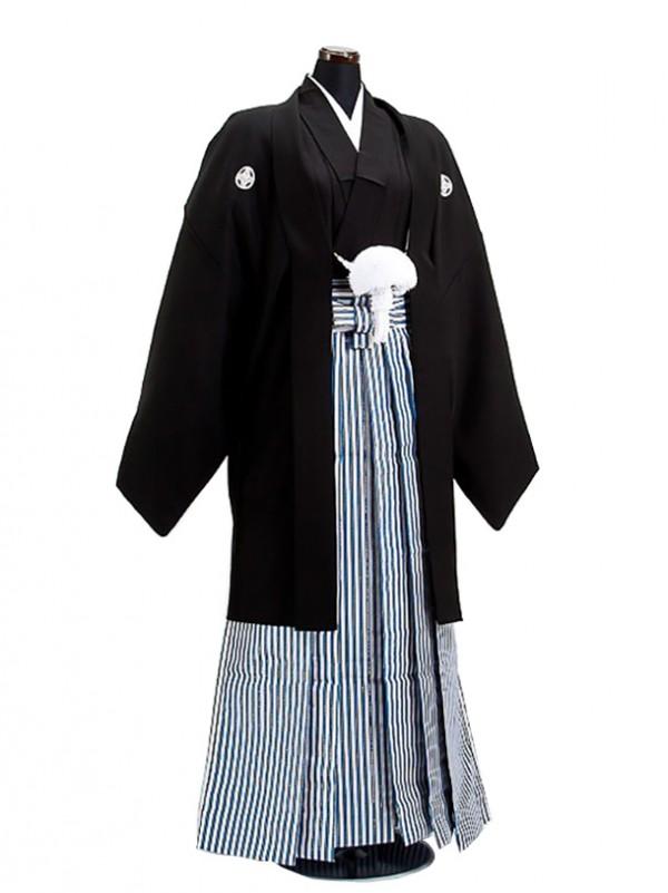 卒業式成人式袴男レンタル040*6/黒/黒青銀縦縞