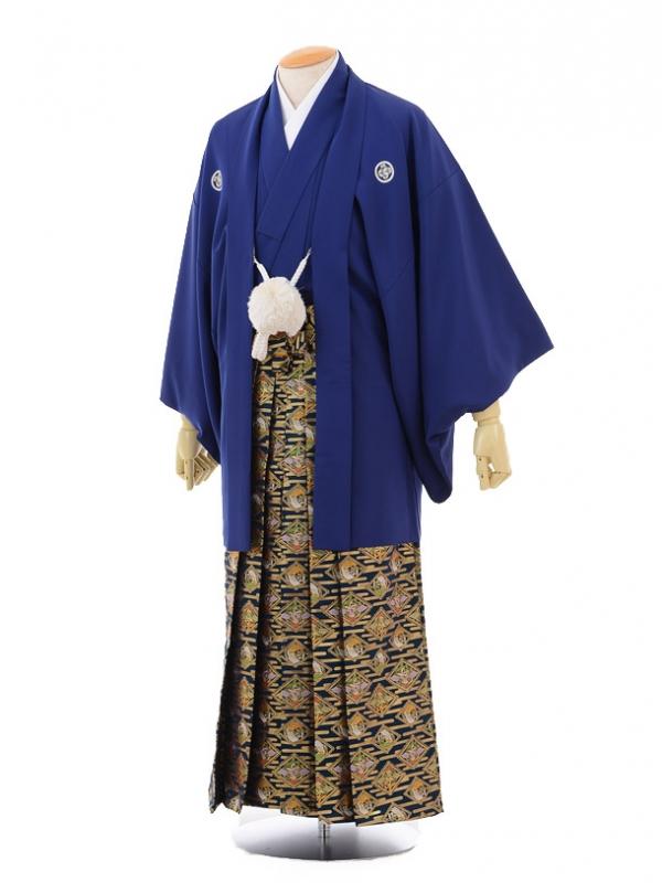 卒業式成人式袴レンタル163紺紋付×紺金袴