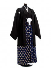 卒業式成人式袴男レンタル032*6/黒紋付/金鶴丸