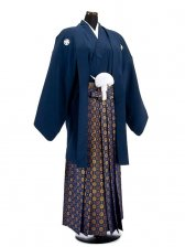 卒業式成人式袴男レンタル012*5/紺/金三ツ割り菊