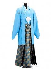 卒業式成人式袴男レンタル016*5/水色/金菊重袴
