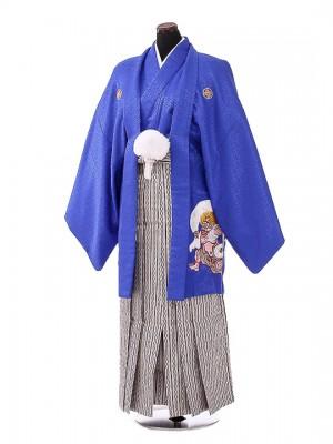 卒業式成人式袴男レンタル111*6青紋付雷神/銀紺