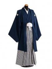 卒業式成人式袴男レンタル074*4/紺紋付/濃紺縞