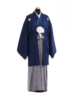卒業式成人式袴レンタル209紺紋付×白紺仙台平