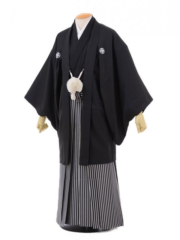 卒業式成人式袴レンタル152黒紋付×紺シルバー袴