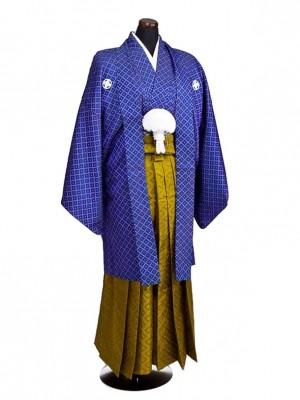 卒業式成人式袴男レンタル055*4/青刺子/緑黄色
