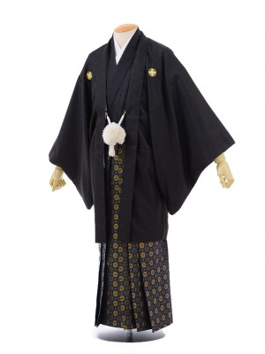 卒業式成人式袴レンタル143黒紋付×紺ゴールド袴