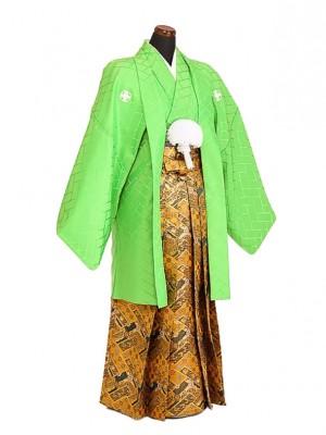 卒業式成人式袴男レンタル072*4/黄緑紋付/金袴
