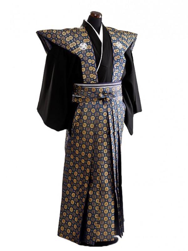 卒業式成人式袴男レンタル059*7/紺三つ割り菊裃