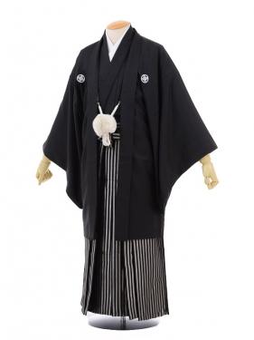 卒業式成人式袴レンタル155黒紋付×黒シルバー袴