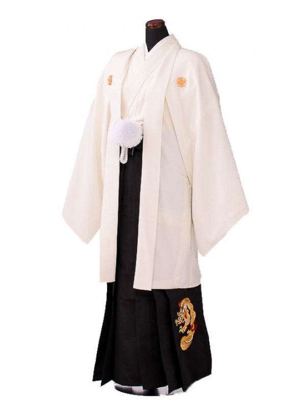 卒業式成人式袴男レンタル114*7/白紋付/黒龍袴