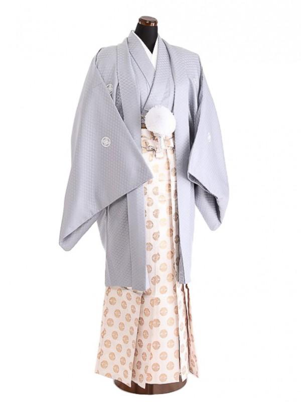 卒業式成人式袴男レンタル083*8/グレー/白向い鶴