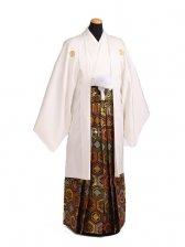 卒業式成人式袴レンタル189白紋付×ゴールド亀甲