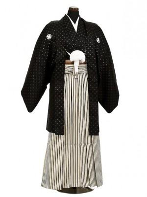 卒業式成人式袴男レンタル039*4/黒/濃紺金縦縞