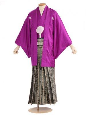 卒業式成人式袴男レンタル004*6/紫/緑グリーンボカシ