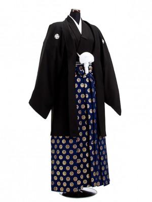 卒業式成人式袴男レンタル031*2/黒紋付/金鶴丸