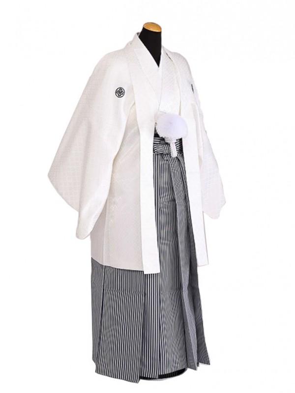 卒業式成人式袴男レンタル067*3/白紋付/紺縦縞