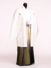 卒業式成人式袴男レンタル094*6/白紋付/金ボカシ