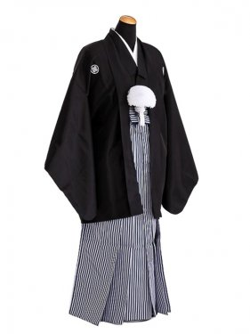 卒業式成人式袴男レンタル073*2/黒紋付/濃紺縞