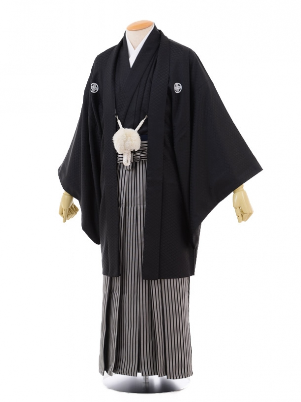 卒業式成人式袴レンタル153黒紋付×黒縞袴