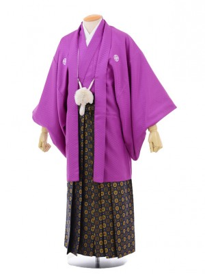 卒業式成人式袴レンタル166紫紋付×紺ゴールド袴