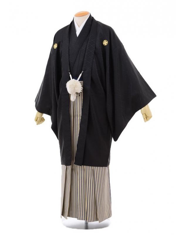 卒業式成人式袴レンタル171黒紋付×紺白ゴールド